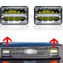 4×6 inch Chrome Headlamp Rectangular Led Work Light DRL Hi/Lo Beam headlight For Chevy Camaro Peterbilt FreIghtliner Truck 2Pcs