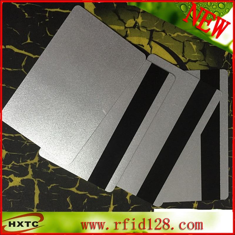 200PCS/Lot CR80 EMV Hi-CO MagStrip PVC Blank Cards Magnetic Card Silver smart Card 200pcs lot customable 8 4mm mag stripe 2 track pvc smart card