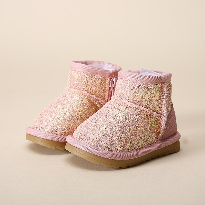 Bling princess winter baby girls shoes kids winter rubber font b boots b font rubber rubber