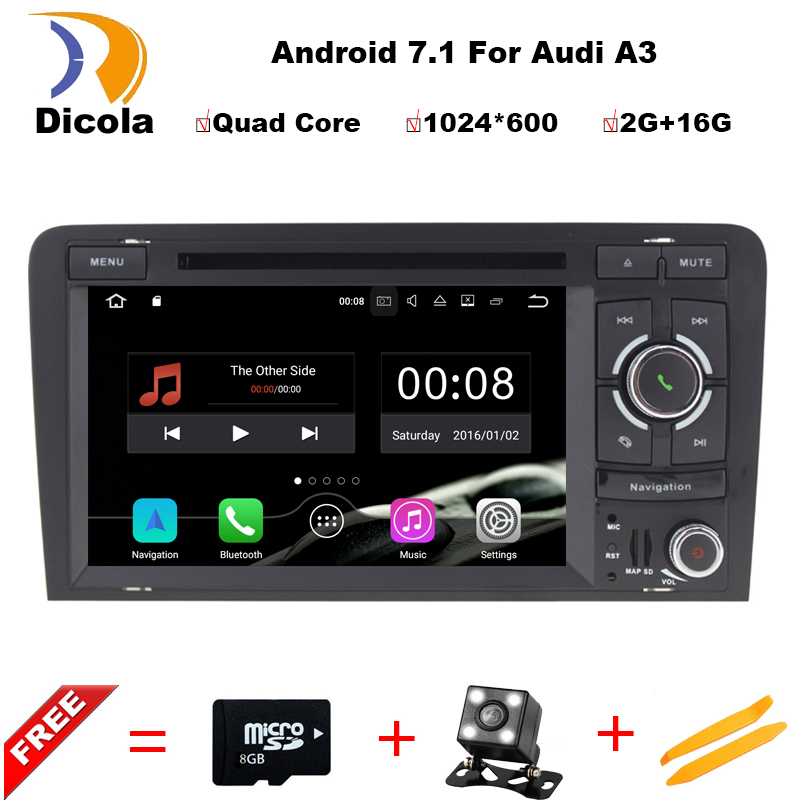 Quad Core Android 7.1 Car DVD Nawigacja GPS odtwarzacz CD autorádio Navi Stereo dla Audi A3 S3 2002-2011 car Multimedia system