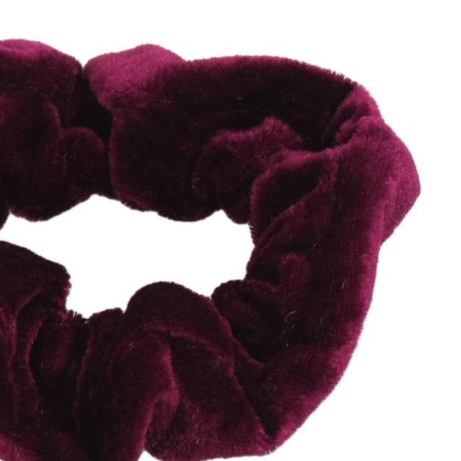 PHFU Burgundy Velvet Elastic Hair Tie Band Ponytail Holder for Women