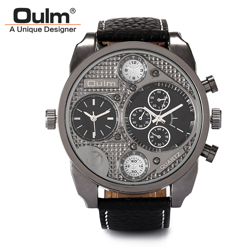 Oulm Watches Male Quartz-Watch Casual Leather Strap Military 2 Time Zone Wristwatch Mens Watches Top Brand Luxury Relojes Hombre oulm new arrive double time zone sports watches men luxury brand pu leather big wristwatch male quartz watch relojes hombre