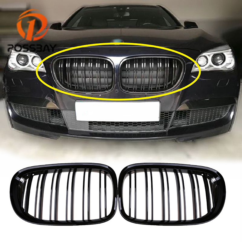 POSSBAY Car Front Grill Grille Glossy Black Matte Black Front Kidney Grille for BMW F01 F02
