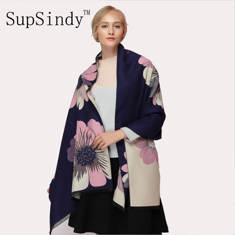 SupSindy Winter Scarf Thick Soft Warm Cashmere Wool Scarf For Women Sided Luxury Brand Flowers Shawl Top Quality Scarves Black