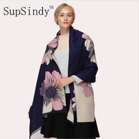 SupSindy Winter Scarf Thick Soft Warm Cashmere Wool Scarf For Women Sided Luxury Brand Flowers Shawl