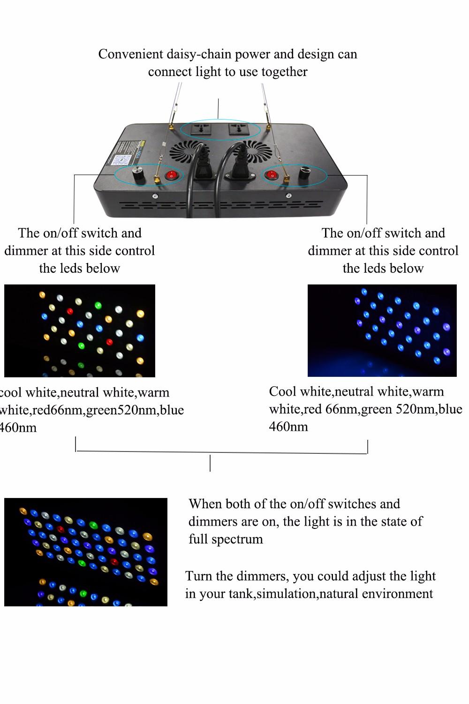 4 шт. marshydro satan 165 вт светодиодный освещения аквариума полный спектр для коралловых реф морской растущий свет для растений