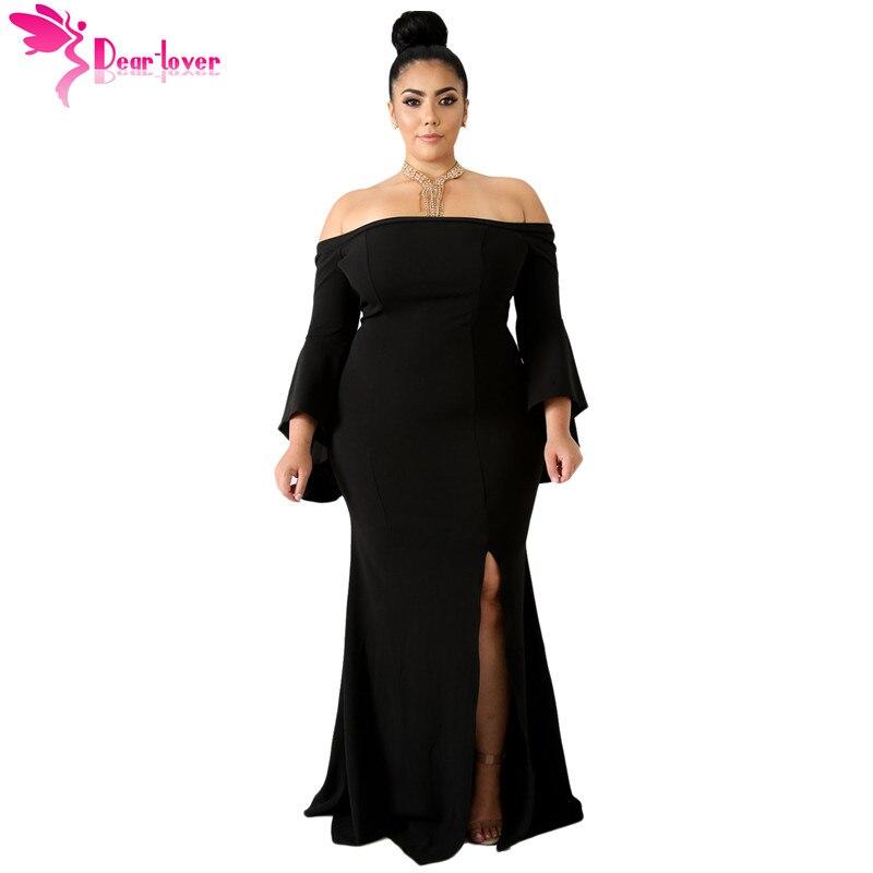 f242b6c7e Dear Lover 3XL 4XL Sexy Party Gowns Big Women Autumn Long Sleeve Chic Black  Off Shoulder
