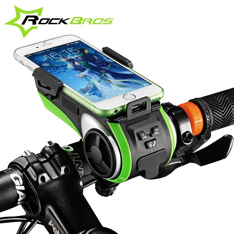 ROCKBROS sacs de vélo support pour téléphone support Bluetooth Audio lecteur MP3 haut-parleur 4400 mAh batterie externe anneau cloche lumière LED