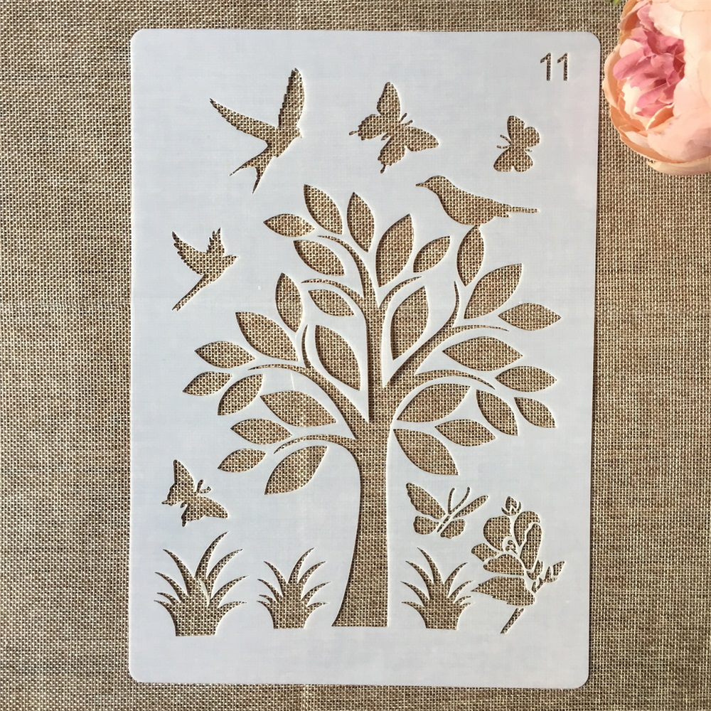 1Pcs 29*21cm Butterfly Bird Flower DIY Layering Stencils Painting Scrapbook Coloring Embossing Album Decorative Paper Template