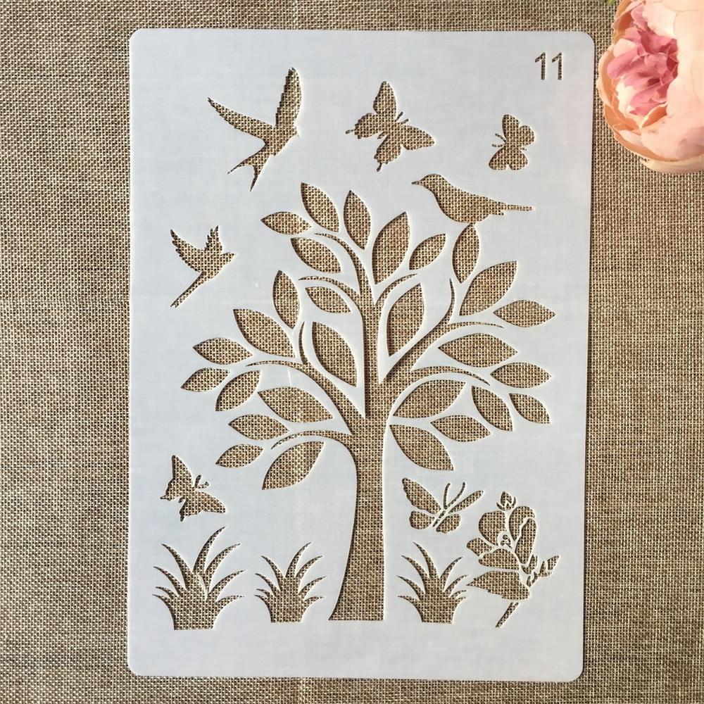 1Pcs 29*21cm Butterfly Bird Flower DIY Layering Stencils Painting Scrapbook Coloring Embossing Album Decorative Paper Template
