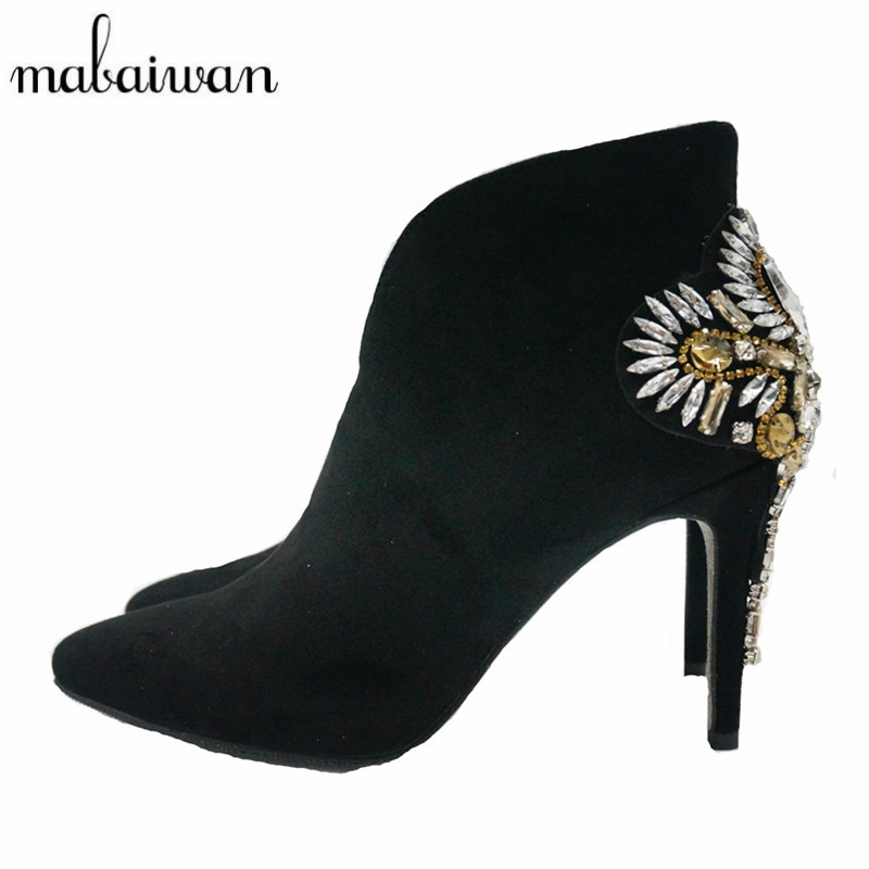 Mabaiwan Front V Women Ankle Boots Suede Leather Short Booties High Heel Shoes Woman Rhinestone Wedding Dress Shoes Women Pumps chunky british vintage suede women genuine leather shoes booties high heel front lace up casual ankle boots autumn brown short