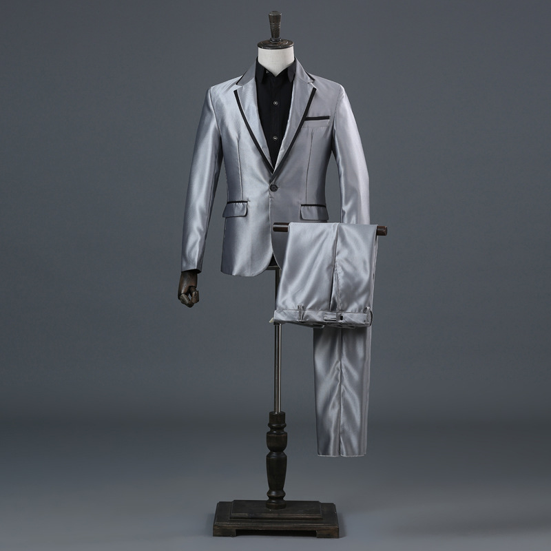 Men's Silver Striped Suit Host Performance Costume Long Sleeve Set Stage Singer Suit Champagne Dress