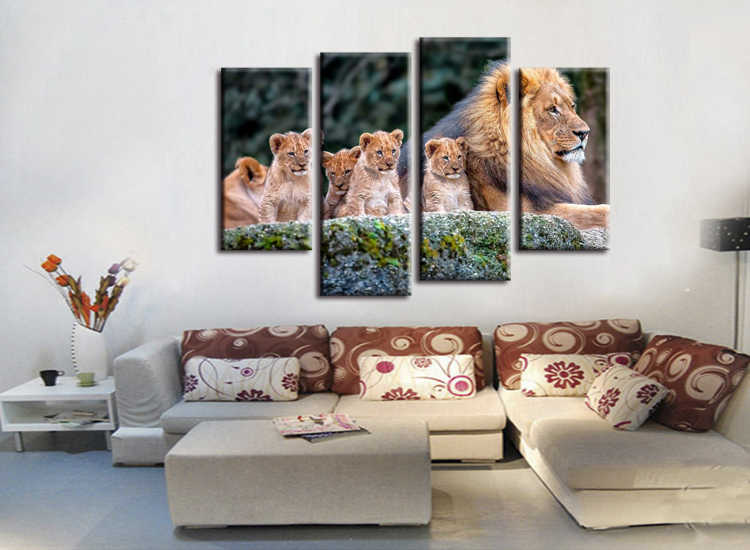 4 pieces / set  Animal Painting Lion King Posters Wall Art and Prints Home Decor Canvas Pictures for Living Room