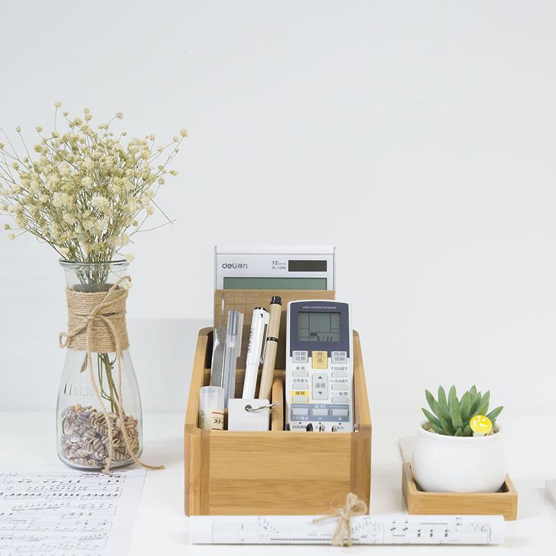 ญี่ปุ่นสไตล์ไม้ไผ่กล่องเก็บจัดโต๊ะ 4 สล็อตการใช้งานหลายกล่องเก็บไม้สำนักงานออแกไนเซอร์ผู้ถือควบคุมระยะไกล