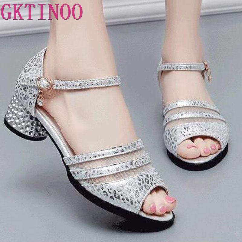 GKTINOO Fashion 2019 Women Sandals Genuine Leather Summer Square High Heels Women Shoes Wedding Shoes Sandalia