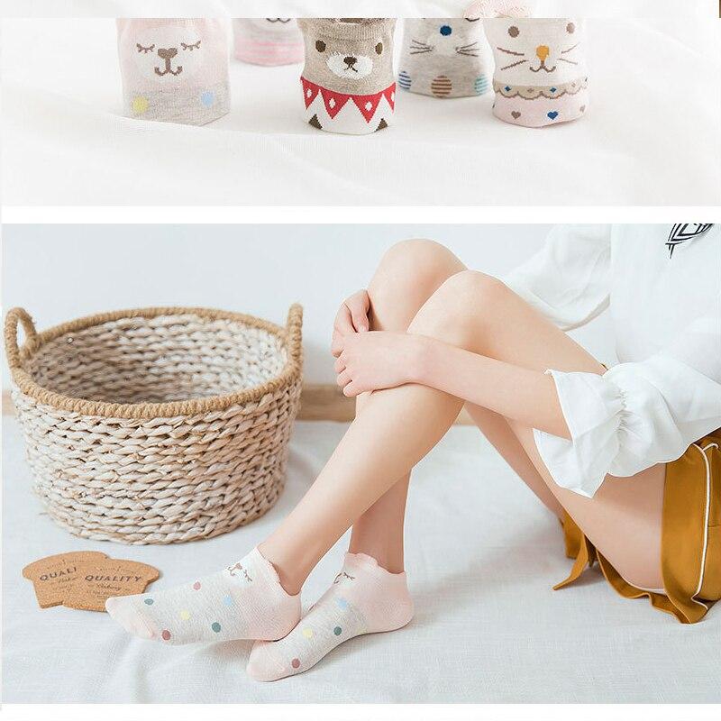 5пары Arrivl дамы хлопок носки милый три-мерном кошка розовый небольшой свежий девушка нескользящая невидимый носки мелкая
