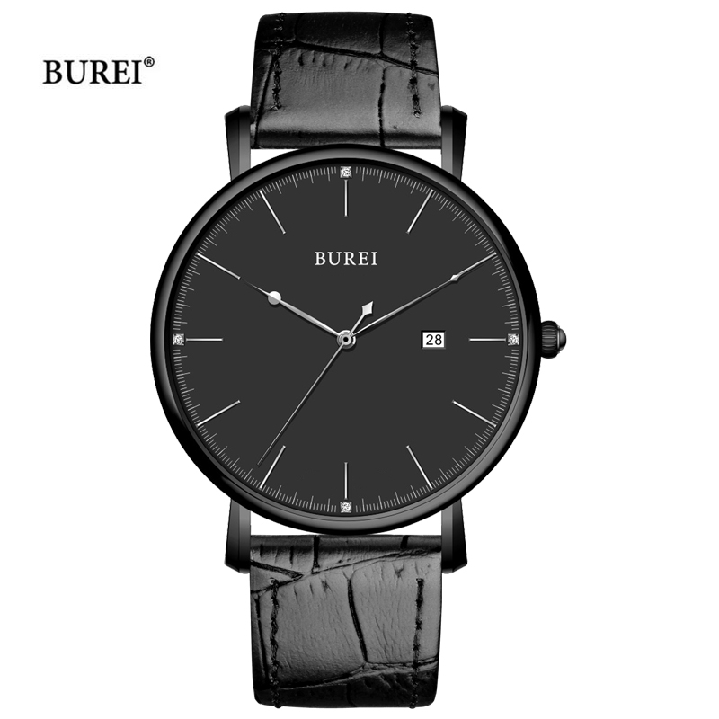 BUREI Gold Black Watch Men Waterproof Fashion D Style W Business Quartz Wrist Watch Ultra Thin Dial Clock Saat Relogio Masculino цены онлайн
