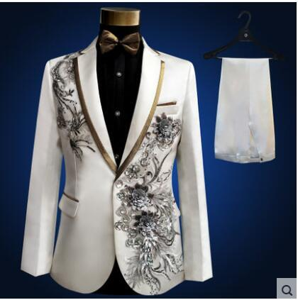 High Grade Plus Size S-4xl Multiple Colour Embroidered Rhinestones Men Suits Set  Male Singer Costume  Popular Stage Show Wear