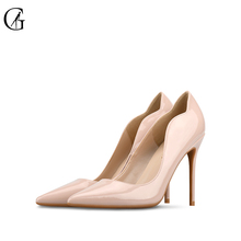 Купить с кэшбэком GOXEOU Women's Pumps Wavy Lace Patent Leather Pointed Toe Stiletto Heel Sexy Fashion Dress Pumps Party Wedding Court Shoes