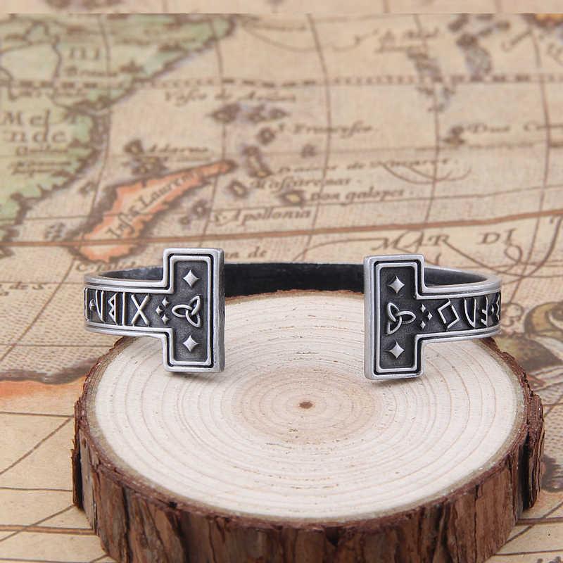 1pc mężczyźni ręcznie robione Nordic Rune bransoletka Viking