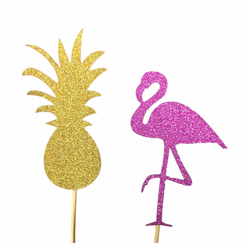 10pcs Pink Flamingo Party Decoration Cupcake Topper Picks Tropical Hawiian Luau Theme Party Wedding cake Coconut trees pineapple