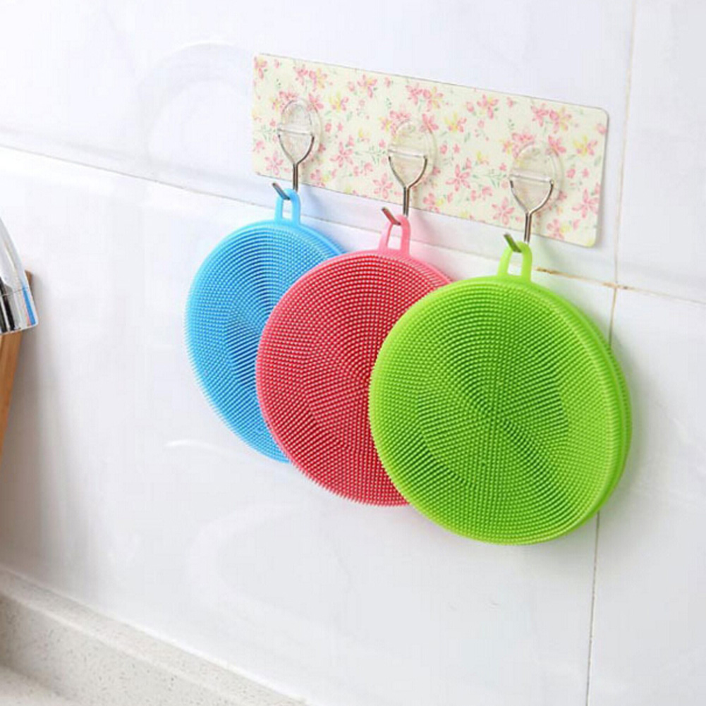 Color Random Practical Silicone Dish Washing Sponge Scrubber High Quality Soft Cleaning Antibacterial Brush Kitchen Tools
