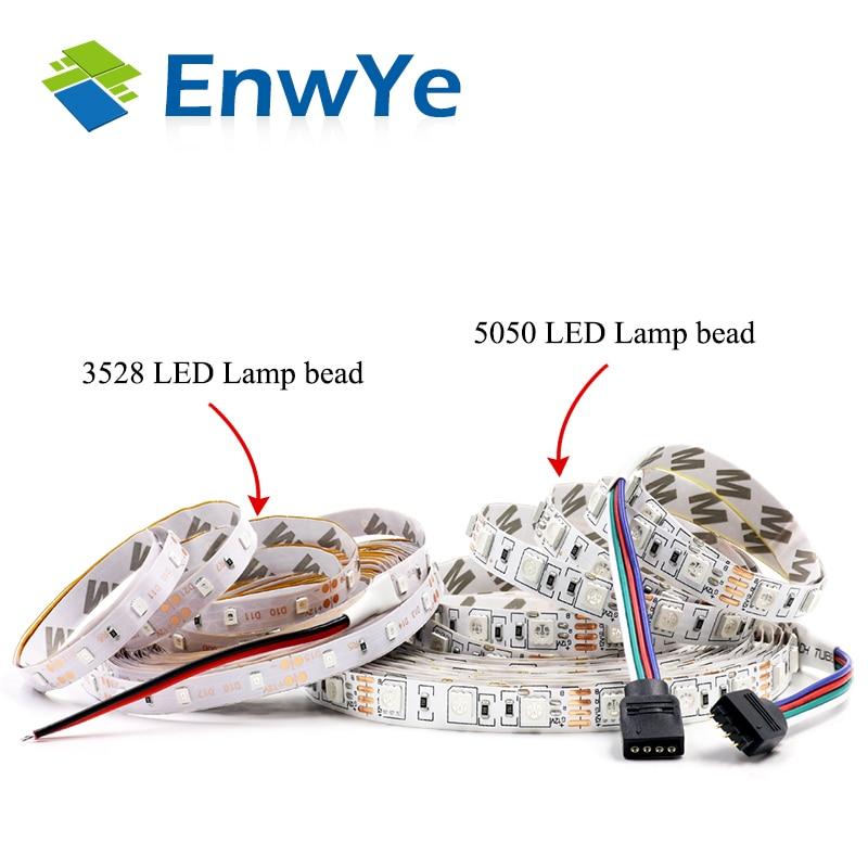 EnwYe 5M 300Leds waterproof RGB Led Strip Light 3528 5050 DC12V 60Leds/M Fiexble Light Led Ribbon Tape Home Decoration Lamp