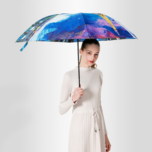 JPZYLFKZL Creative Three-fold Folding Umbrella Female Male Car Luxury Large Windproof Men Rain Black Paint