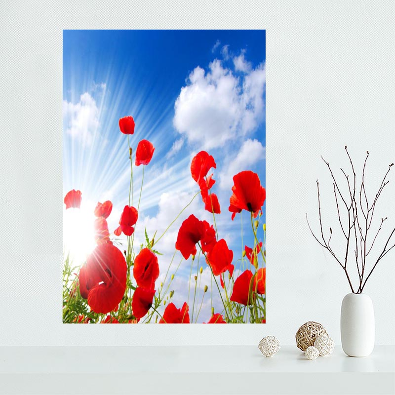 Nice Flower Poppies Flowers Poppy Poster Custom Satin