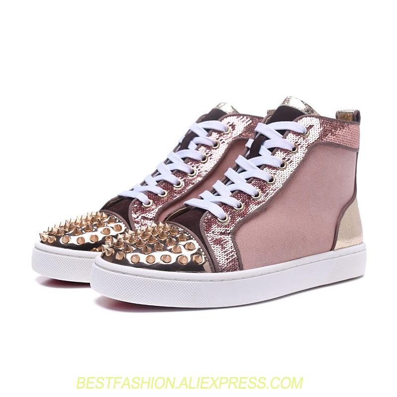 Glitter Casual High Top Women Sneakers Round Toe Leather Pink Print Flats Shoes Studded Rivets Spikes Shoes Woman Top Quality casual print round neck ruffled top for women