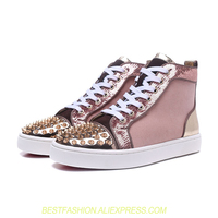 Glitter Casual High Top Women Sneakers Round Toe Leather Pink Print Flats Shoes Studded Rivets Spikes Shoes Woman Top Quality