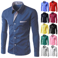 Free Shipping 2012 New Mens Shirts Casual Slim Fit Stylish Hot Dress Shirts Color White Black
