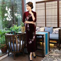 Мода китайский женщин долго Cheongsam Велюр вышивает вечерние платье тонкий Qipao Vestido Размеры S M L XL XXL XXXL 4XL