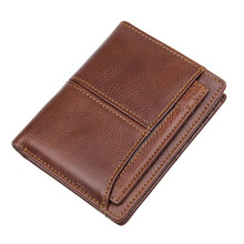 Top Grade Cow Leather Short Wallet Coffee Vintage Card Holder Classic Mens With RFID Function R-8107-2/R-8107-3