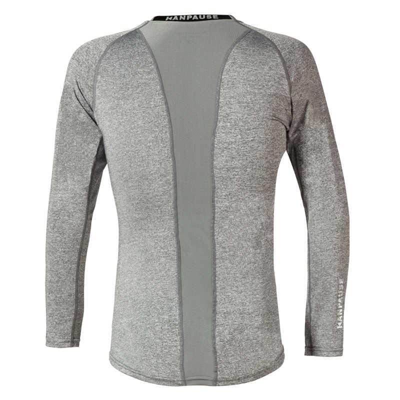 新到着 KANPAUSE 男性のタイトな長袖トレーニング Tシャツスポーツウェア
