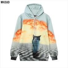 66c6292622e WKOUD Harajuku 3D Cat Hoodies Women Long Sleeve Sweatshirt Animal Printed  Pullovers Loose Colorful Hooded Hoody