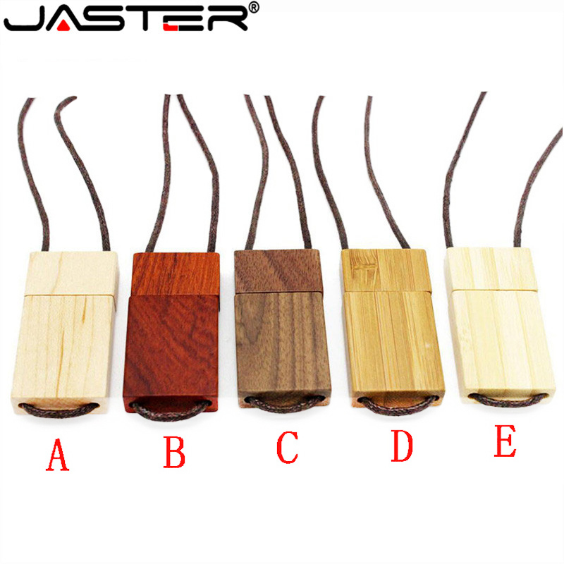 JASTER Lanyard Wooden USB Flash Drive Red Wood Pendrive 4GB 16GB 32GB 64GB 128G Bamboo Memory Stick Logo Engraving Wedding Gifts