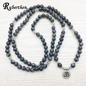 Браслет Ruberthen 2018 с лабрадоритом, модный мужской браслет ручной работы, 108 мала-Йога или ожерелье, браслет с подвеской