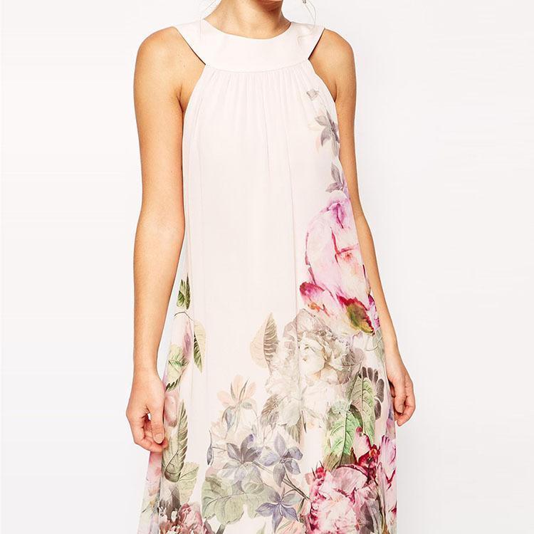 05d9aeb406c09 US $14.65  2018 Summer Style Floral Print Maxi Dresses Women Beach Club  Casual Loose Chiffon Sleeveless O Neck Long Elegant dress Female-in Dresses  ...