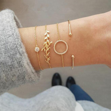 4 Pcs/Set Gold Link Chain Leaf Charm Bracelet for Women Simple Round Crystal Loop Lucky Friendship Jewelry