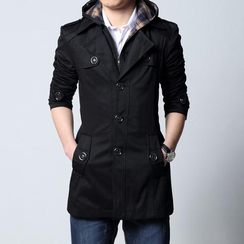 2019 Fashion outwear long coat men trench puls size 5XL male clothing slim fit black and khaki Free shipping Karachi