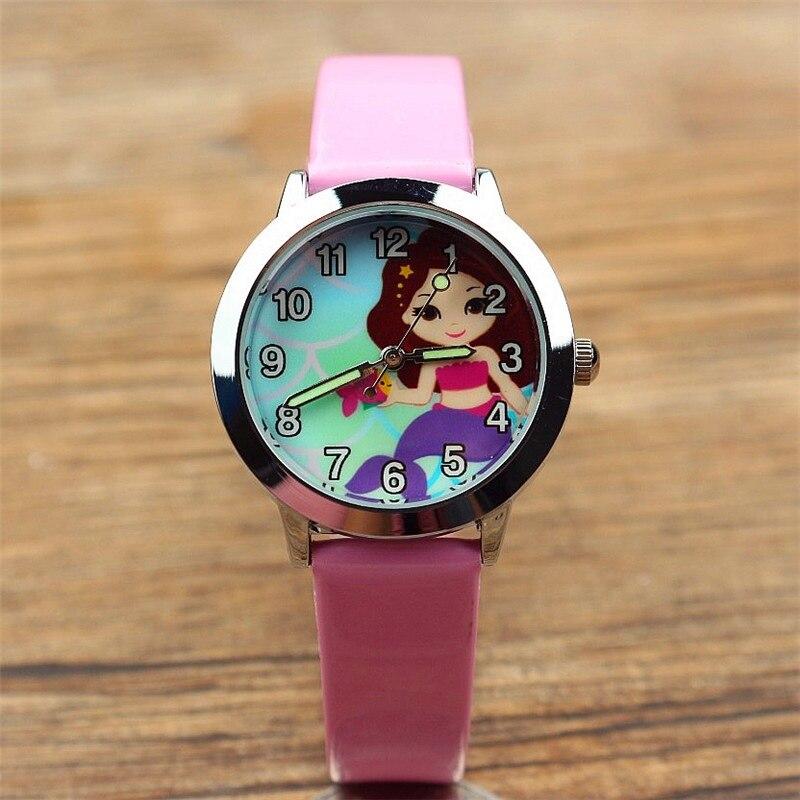 Children In Children Cartoon Mermaid Cute Belt Watch Korean Version Of Leisure Primary School Quartz Wrist Watch