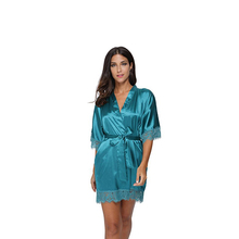 Sexy Satin Deep V Women Nightwear Robes New Lace Bridesmaid Wedding Kimono Gown Female Rayon Bathrobe Sleepwear Home Wear D129(China)