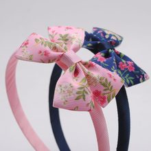 1Pc Hair Accessories For Girls Hairbands Small Flowers Print Little Bows Kids Headbands Children Hair Hoop Boutique Tiara(China)