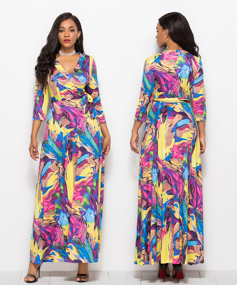 7506d638a ... Women Floral Print Loose Long Dress Bohemian Floor Length Casual Frocks  Female Plus Size 2019 New Spring Boho Dresses. 003-5060. 004 960. 005. 006.  007