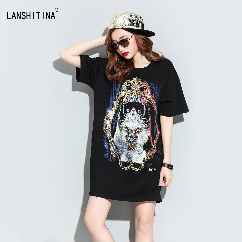 Cat Crown Graffiti Print Summer T Shirt Dress Plus Size 2017 Women