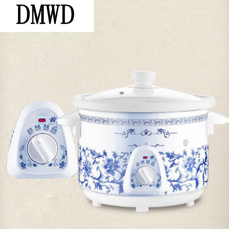 DMWD Household Electric Mini Slow Cooker 140W MINI Mechanical timer Stewing Soup Porridge Pot Ceramic food cooking machine 1.5L dmwd 110v multifunction electric skillet stainless steel hot pot noodles rice cooker steamed egg soup pot mini heating pan