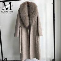 Spring Autumn Winter Coat Women Lapel Belt Pocket Wool Blend Coat with Big Fur Collar Long Trench Coat Outerwear Wool Coat Women