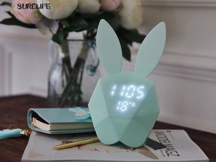 Sleepy voice Nightlight Rabbit alarm clock Music charging alarm clock Childrens bedroom wall lamp