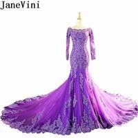 JaneVini 2019 Arabic Purple Mermaid Party Dresses Dubai Women Long Sleeve Prom Dresses Lace Pearls Long Train Bridesmaid Gowns